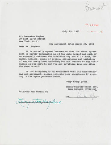 "HUGHES, LANGSTON. 1902-1967. Typed Document Signed (""Langston Hughes""), 1 p, 4to, July 19, 1961, countersigned by MGM Records executive Arnold Maxin,"
