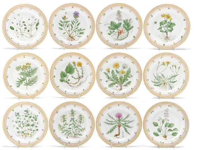 A set of twelve Royal Copenhagen Flora Danica porcelain dishes