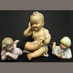 Three German bisque piano babies late 19th/early 20th century