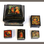 Five Russian lacquer boxes