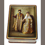 A Russian lacquer box with portrait of Czar Nicholas II and Czarina Alexandra  dated 2007