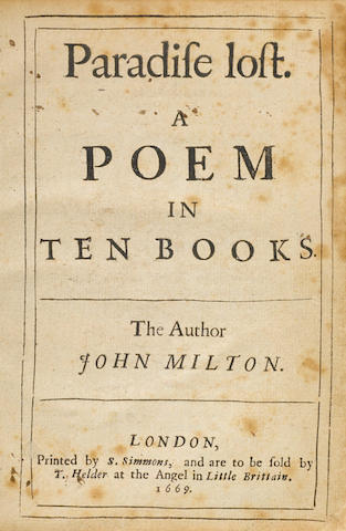 MILTON, JOHN. 1608-1674. Paradise Lost. A Poem in Ten Books. London: S. Simmons, 1669.