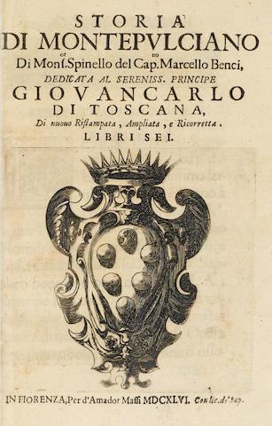 BENCI. Storia di Montepulciano. 1646.