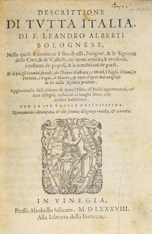 ALBERTI. Descrittione di Tutta Italia. Venice: 1588. 2 volumes. Spine chipped.