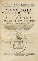 KIRCHER, ATHANASIUS. 1602-1680. Musurgia universalis sive ars magna consoni et dissoni: in X libros digesta. Rome: Heirs of Francesco Corbelletti, 1650.