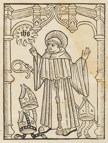 BERNARDINO DE SIENNA. 1380-1444. Tertiu[m] opus sancti bernardini de sensi ordinis fratrum minorum de observantia. Lyons: Johanne Diamantiers & M. Nicolai, 15 November 1501.