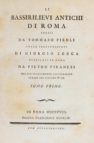 Li Bassirilievi di Atichi di Roma. 1808. 2 vols. Covers detached.