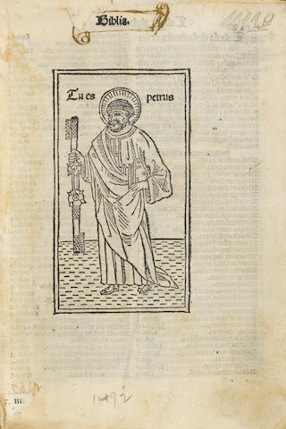 (Incunabula-Bible) BIBLIA LATINA. Venice: Hieronymus de Paganinis. 1492. 8vo. First bible with illustration on title, woodcut of Peter with the keys to the gates of heaven. Also first with alphabetical table of contents, compiled by Gabriel Bruno. Stamped calf. Wormed. 552 leaves. Goff B-594