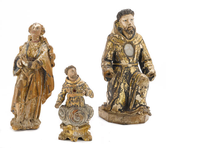 Three Baroque polychrome and gilt decorated carved wood figures 17th/18th century