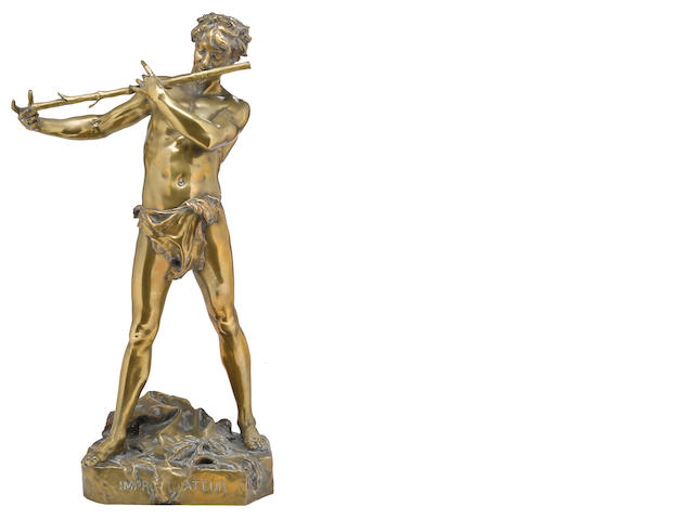 A French bronze figure: L'improvisateur late 19th century