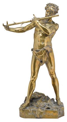 A French bronze figure: L'improvisateur late 19th century