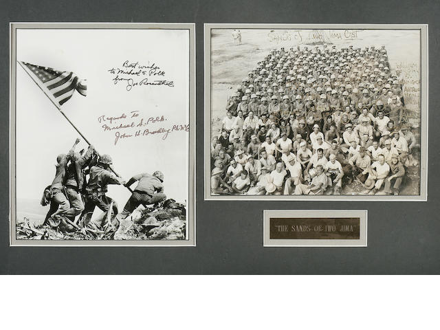 Iwo Jima flag raising photo signed by Joe Rosenthal, with Sands of Iwo Jima cast photo