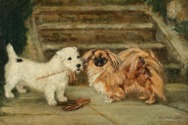 Miss G. L. Whelpton (British, exh. 1913-1921) Pekingese and Sealyham; Pekingese and Sealyham with a crop: Two each 12 x 18 in. (30.5 x 45.7 cm.)