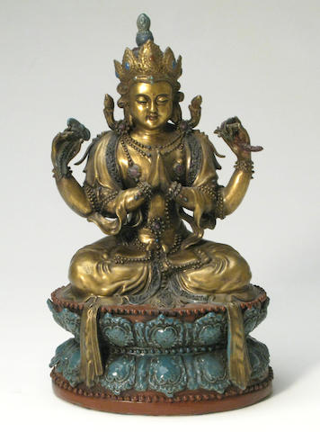 A glazed porcelain seated esoteric Buddhist divinity China, 20th century