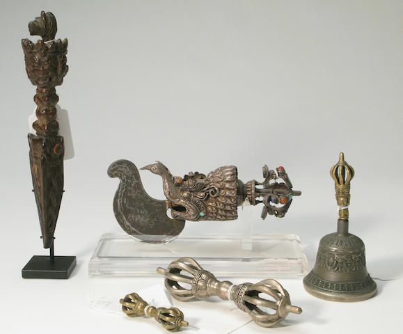 A group of Himalayan ritual implements