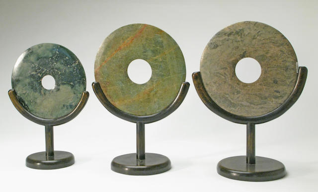 A group of three archaistic hardstone bi disks