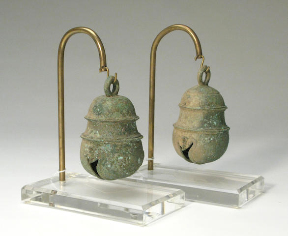 A pair of Southeast Asian bronze bells