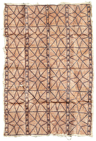 A Tapa cloth size approximately 44 by 66in (111.7 by 167.6cm)