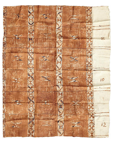 A Tapa cloth size approximately 84 by 106in (213.3 by 269.2cm)