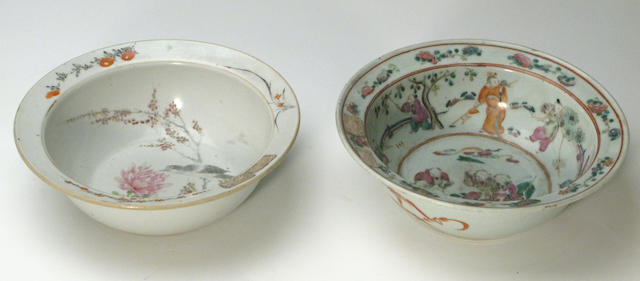 Two famille rose enameled porcelain basins Late Qing/Republic period
