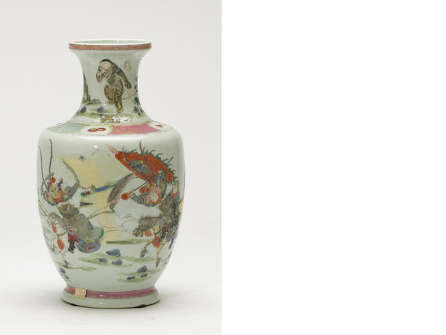 A famille rose enameled porcelain vase Qianlong mark