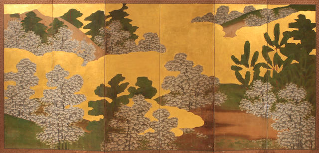 A group of four Japanese folding floor screens