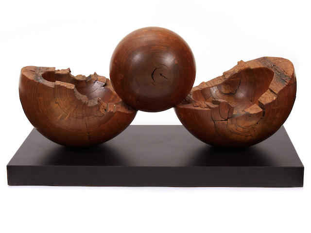 "An Arthur William turned and laminated wood sculpture, ""Birth"""