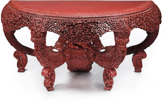 A Burmese red-lacquered large console table<BR />20th century