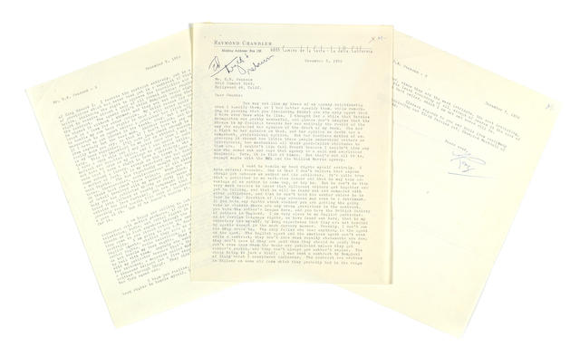 "CHANDLER, RAYMOND. 1888-1959. Typed Letter Signed (""Ray""), 3 pp, 4to, La Jolla, California, December 5, 1952, to H.N. Swanson,"
