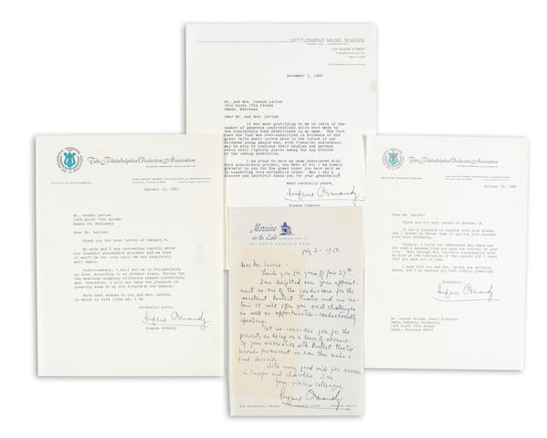 "ORMANDY, EUGENE. 1899-1985. 1 Autograph and 3 Typed Letters Signed (""Eugene Ormandy""), 4 pp, 4to, Philadelphia and Highland Park, Illinois, 1950-64, to Joseph Levine, on Philadelphia Orchestra Association, Settlement Music School, and Moraine on the Lake letterhead,"