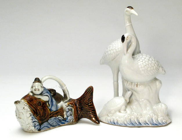 Two Japanese blue and white porcelain decorations with iron brown decoration