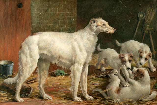 Frank Watkins (British, 20th century) Spain and Puppies; Three Borzois  each 20 3/4 x 28 1/2 in. (52.8 x 72.4 cm.)