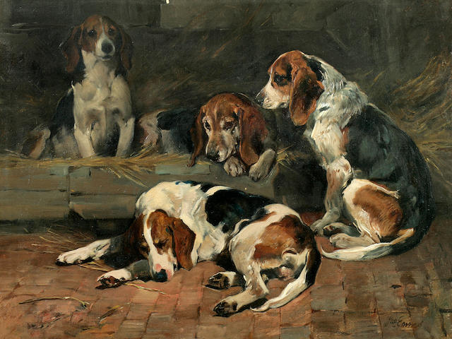 John Emms (British, 1843-1912) Beagles - Father of the Pack 16 1/4 x 21 1/2 in. (41.5 x 54.6 cm.)