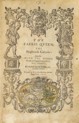 SPENSER, EDMUND. 1552?-1599. The Faerie Queene: The Shepheards Calendar: Together with the Other Works of England's Arch-Poet. London: Mathew Lownes, 1611.<BR />