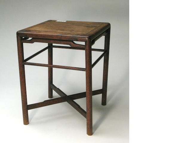 A Chinese hardwood square side table