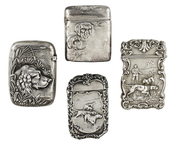 Group of four American sterling silver match safes (4)