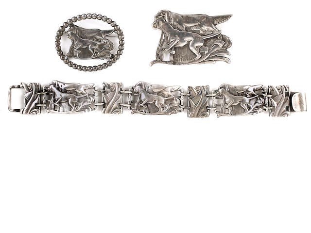 A group of sterling silver jewelry pieces designed by McClelland Barclay (3)