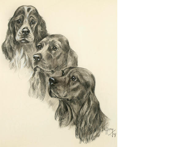 Lillian Tiffany (American, born 1900) Three Cocker Spaniels: A pair 16 1/2 x 25 1/4 in. (41.9 x 64.8 cm.), 22 x 17 1/2 in. (55.8 x 44.4 cm.)