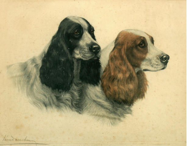 Leon Danchin (French, 1887-1939) Two Cocker Spaniels sight 16 x 21 1/4 in. (40.6 x 54.0 cm.)<BR />sight 11 3/4 x 14 3/4 in. (29.8 x 37.5 cm.)