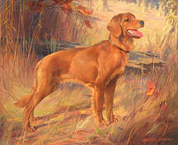 Adrian L(ouis) Brewer (American, 1891-1956) Retriever in a landscape  15 3/4 x 19 7/8 in. (40.0 x 50.5 cm.)