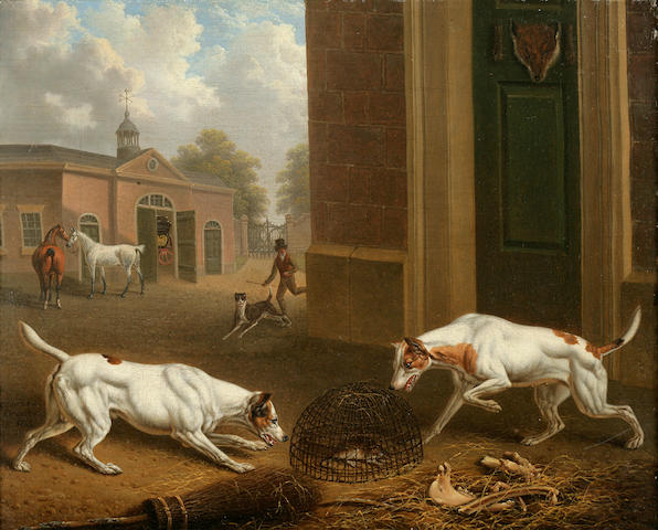 Charles Towne (British, 1763-1840) Two hounds outside a stable 10 x 12 1/8 in. (25.4 x 30.6 cm.)