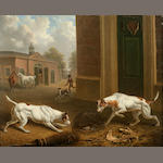Charles Towne (British, 1763-1840) Two hounds outside a stable 10 x 12 1/8in (25.4 x 30.6cm)