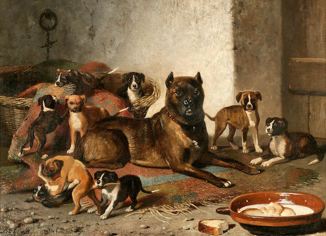 Bernard de Gempt (Dutch, 1826-1879) Bulldog and litter 25 3/4 x 36 in. (65.4 x 91.4 cm.)