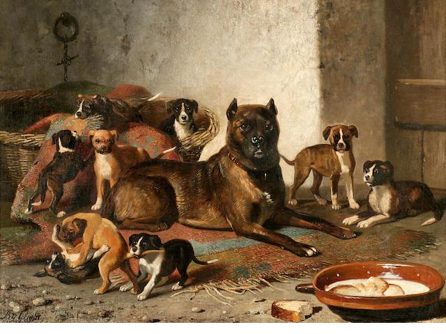 Bernard de Gempt (Dutch, 1826-1879) Bulldog and litter 25 3/4 x 36 in. (65.4 x 91.4 cm.)