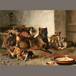 Bernard de Gempt (Dutch, 1826-1879) Bulldog and litter 25 3/4 x 36in (65.4 x 91.4cm)