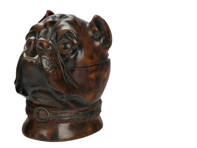 Continental school, 19th century carved boxwood inkwell in Bulldog form