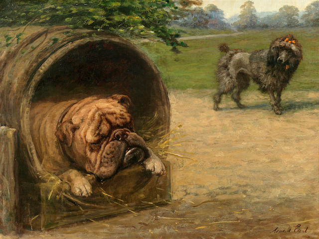 Maud Earl (British, 1864-1943) A British Bulldog and a French Poodle 18 x 24 in. (46.7 x 60.9 cm.)