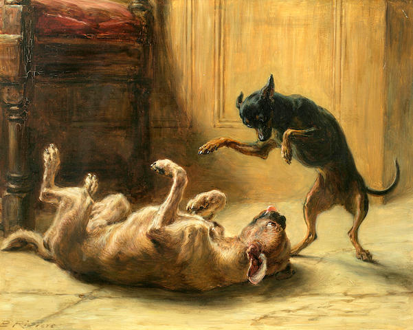 Briton Riviere (British, 1840-1920) Playmates (Manchester Terrier) 12 1/4 x 15 1/4 in. (31.0 38.7 cm.)