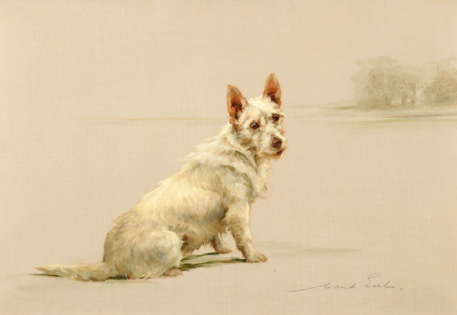 Maud Earl (British, 1864-1943) West Highland White Terrier in a Landscape 14 x 20 in. (35.5 x 50.8 cm.)