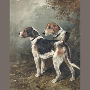 John Emms, British, 1843-1912 Two fox hounds in a landscape 15 9/16 x 12 3/8 (39.5 x 31.5)